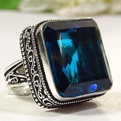 Redefined Blue Sapphire Gemstone .925 Silver Jewelry Vintage Ring S-9 P2727
