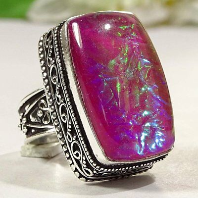 Stunning Australian Opal Gemstone .925 Silver Jewelry Vintage Ring S-7 P2718