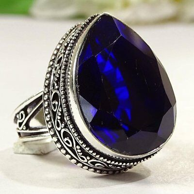 Excellent Blue Sapphire Gemstone .925 Silver Jewelry Vintage Ring S-9 P2705