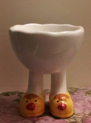 Adorable White Egg Cup Wearing Yellow Chick Slippers!!!
