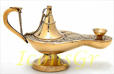 Orthodox Oil Lamp Greek Byzantine Brass Church Table  Vintage - 373/5