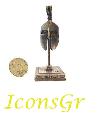Ancient Greek Miniature Spartan Helmet 300 Leonidas On A Base Gold Color (7125)