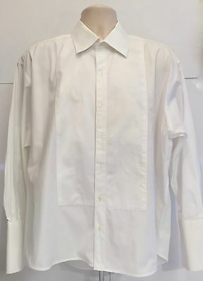 MEN's ALFRED SUNG FORMAL WHITE DRESS SHIRT French-Cuff Size 17.5 32/33 tux groom