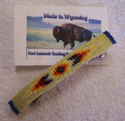 Hand Made Beaded Hair Barrette Rendezvous Black Powder Mountain Man