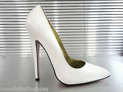 Mori Made In Italy Sky High Sexy Heels Pumps Schuhe Kroco Leather Beige Nude 45