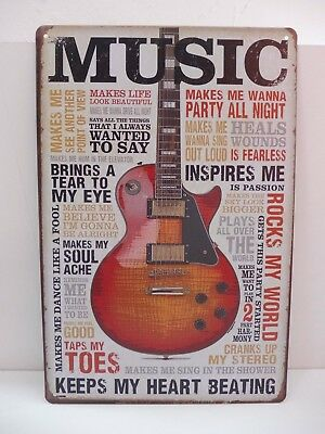 "PLAQUE TOLE 20 x 30 cm DECORATION ""MUSIC KEEPS MY HEART BEATING"" Neuf Emballage."