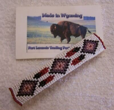 Hand Made Beaded Hair Barrette  Rendezvous Black Powder Mountain Man 6