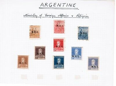 Argentina Ministry of Foreign Affairs & Religion 9 stamps mint & used