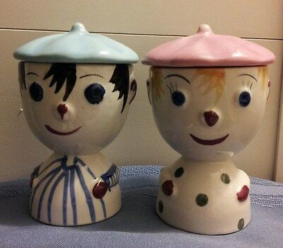 Vintage Man & Woman Egg Cups With Lids In Excellent Condition!!!