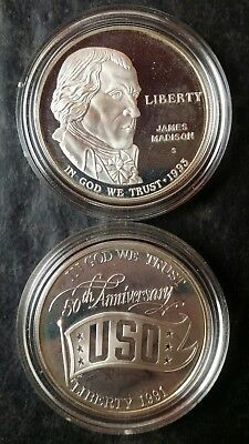 Two Proof $1 United States Commemorative Silver Dollars in Mint Capsules