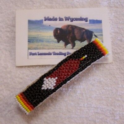 Hand Made Beaded Hair Barrette  Rendezvous Black Powder Mountain Man 7