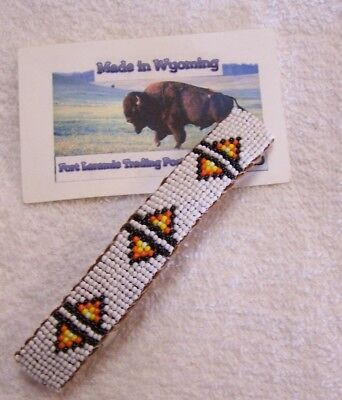 Hand Made Beaded Hair Barrette  Rendezvous Black Powder Mountain Man 9