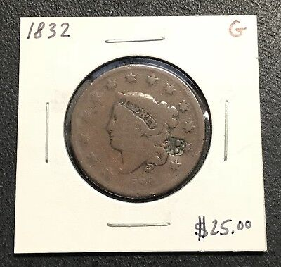 1832 U.s. Coronet Head Large Cent ~ Good Condition! $2.95 Max Shipping! C186