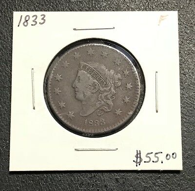 1833 U.s. Coronet Head Large Cent ~ Fine Condition! $2.95 Max Shipping! C188