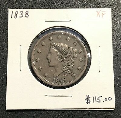 1838 U.s. Coronet Head Large Cent ~ Xf Condition! $2.95 Max Shipping! C190