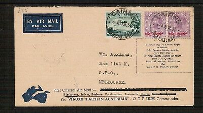Australia Queensland to Melbourne 1st Flight Air Mail cover 1934