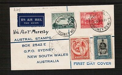 Australia Papua to Sydney 1st Day Air Mail cover 1938