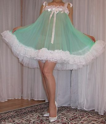 VTG Lingerie Double layer Nylon Slip FULL Sweep Negligee Babydoll Nightgown M-4X