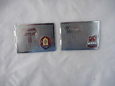 TWO ART DECO CHROME PLATE POSTAL STAMP HOLDERS(7x5cms )