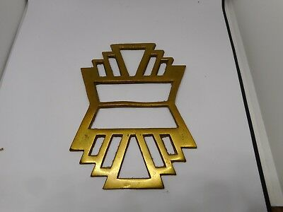 VINTAGE GEOMETRIC HORSE BRASS-13cms long and 9.5cms wide