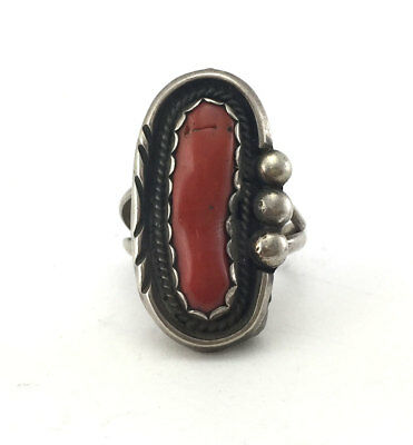 c. 1970, Size 6, Navajo Coral and Silver Ring with Natural Coral Vein