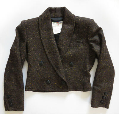 Vtg 80s YSL Saint Laurent Cropped Speckled Wool Jacket 34