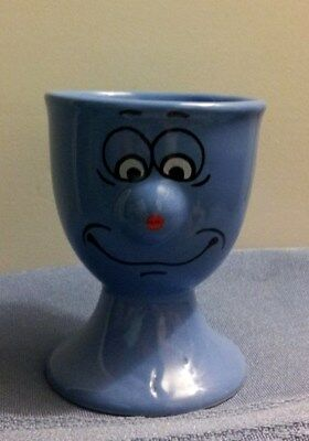 Blue Funny Face Egg Cup In Excellent Condition!!!