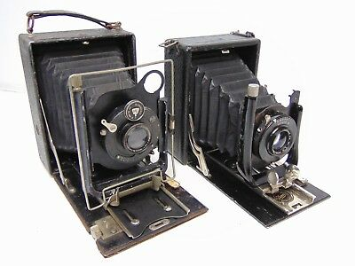 2x Vintage bellows cameras Rodenstock Trinar, Butchers Cameo Aldis lens bookends