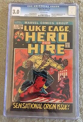 Hero for Hire # 1 1st Appearance Luke Cage - CGC 3.0 1972 - Defenders - NETFLIX