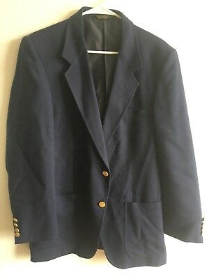 Farah Mens Navy Blue Blazer 40R Made In D.r 50% Polyester 50% Rayon Button Up