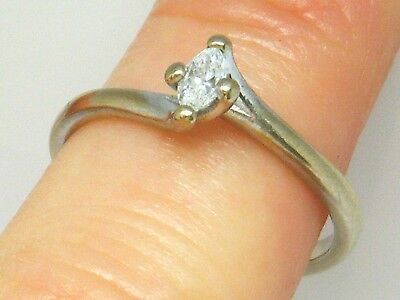 18ct Gold 18k Gold  Marquise Diamond  Solitaire Hallmarked ring size N
