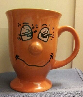 Large Orange & Green Funny Face Coffee Mug In Excellent Condition!!!