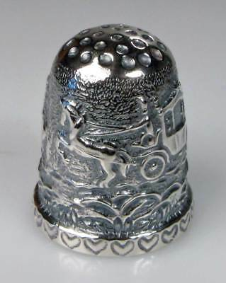 thimble sterling silver wedding coach with two riders Thorvald Greif new