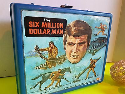 Vtg Plastic Lunchbox Lunch Kit Aladdin Ind. Canada 1974 Six Million Dollar Man