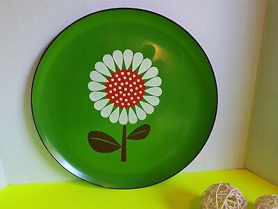 Vintage Retro Round Sunflower Green Serving Tray 13 Inches Across 1970s :?