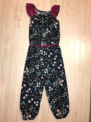 LN Cheeky Plum Girls Navy Floral Jumpsuit Romper 6 Fall Back To School