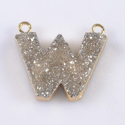 Letter W Natural Agate Titanium Druzy Connector Gold Plated B035879