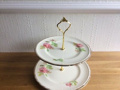Vintage  Shabby Chic 2 Tier Cake Stand Swinnertons With Gold Fittings