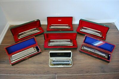 Lot Of 7 Vintage Hohner Harmonicas Chromonika Larry Adler Chromonica Marine Etc
