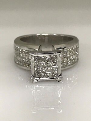 Ladies Diamond Invisible Set 2.50ctw  14K White Gold Ring #3242 CLOSE OUT