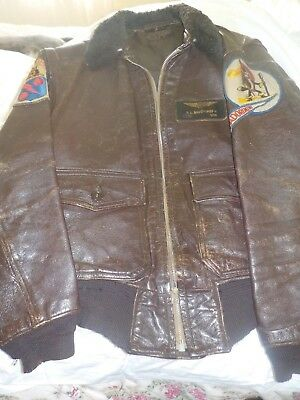 Vintage Naval Leather Flight Jacket w Patches