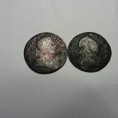 2 George Iii Halfpenny 1773, 75 Coins Great Britain Uk