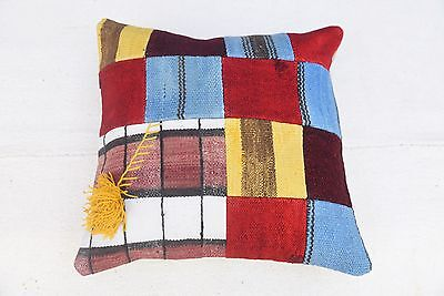 Turkish Kilim Pillowcase, Tribal Ethnic Cushion Cover, 16''x16''
