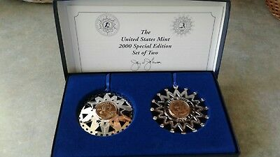 Year 2000 Limited Edition United States Mint Two Ornament Set
