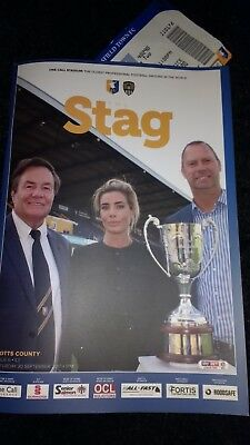 2017/18 Mansfield Town V Notts County 30/09/17 Prog/ticket