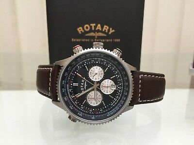 Rotary Men's Aviator Watch /Chronograph Brown Leather strap Dolphin strap (P105