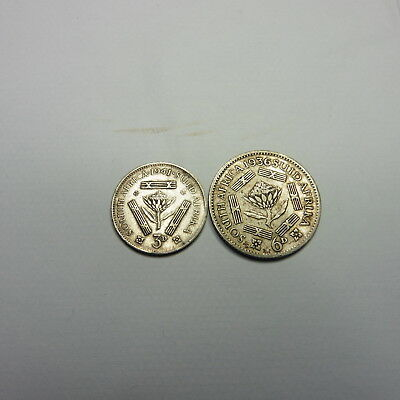 South African 1936 Six Pence + 1941 Three Pence Silver Coins