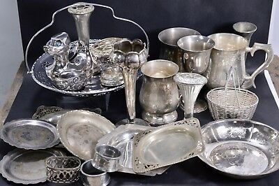 Vintage Antique SILVER PLATE Job Lot of 22 Collectables Goblets Dishes Coasters