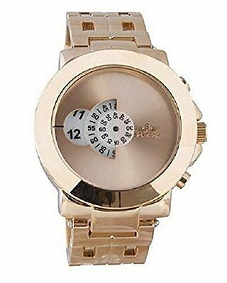 b5c47d3f7bc8 Softech Men s Rose Gold Plated Jump Hour Disk Display Wrist Watch Analog  Quartz