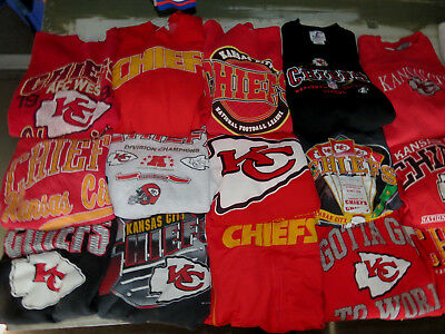 LOT OF 21 KANSAS CITY CHIEFS SWEATSHIRTS NFL RED ADULT SIZES SOME VINTAGE 90s